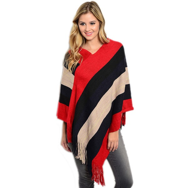 Shop the Trends Women's Thick Ribbed Knit Pullover Poncho 16416885