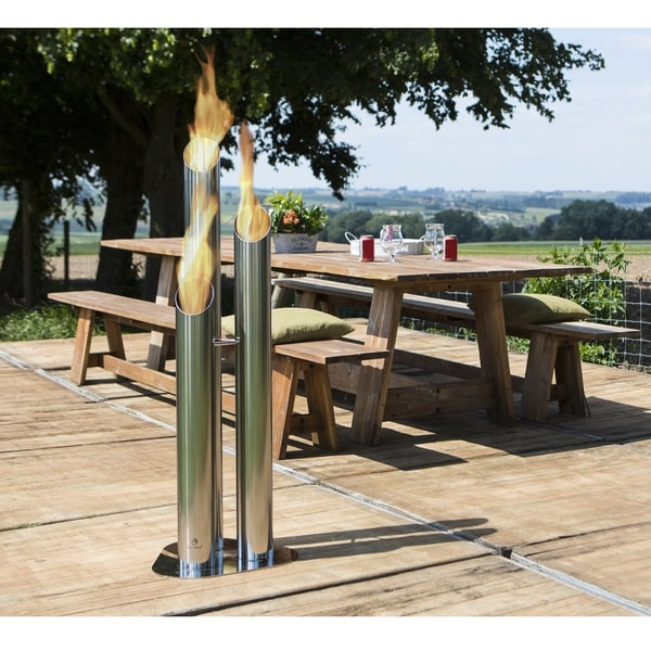 Bio-Blaze Pipes Large Outdoor Bio-Ethonal Fireplace, Stainless Steel