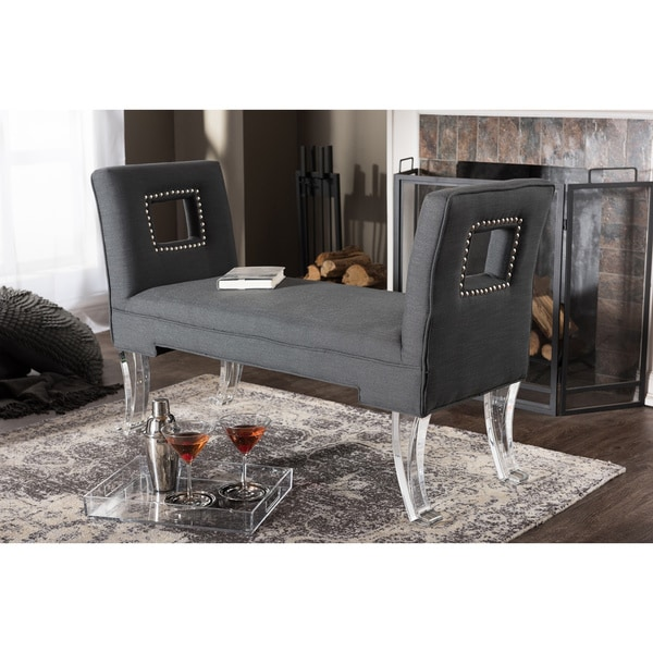 Bessie Modern and Contemporary Grey Linen Upholstered Luxe Flared Arms Ottoman Bench with Flared Acrylic Legs