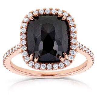 Annello 14k Rose Gold 4 3/5ct TDW Cushion Shape Black Diamond Halo Ring (G-H, I1-I2)