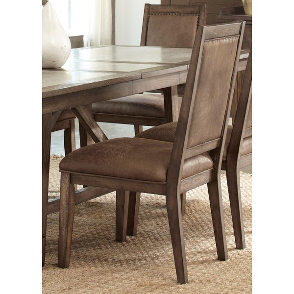 Stoney Brook Rustic Saddle Upholstered Side Chair