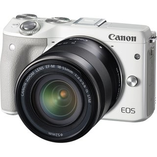 Canon EOS M3 24.2 Megapixel Mirrorless Camera with Lens - 18 mm - 55 mm - White
