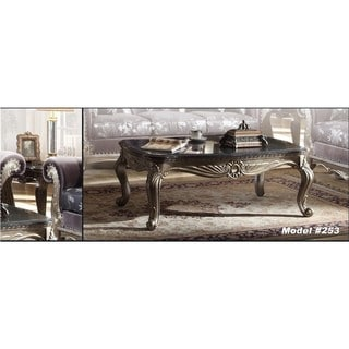 Meridian Antiqued Silvertone Roma Coffee Table with Black Granite Top