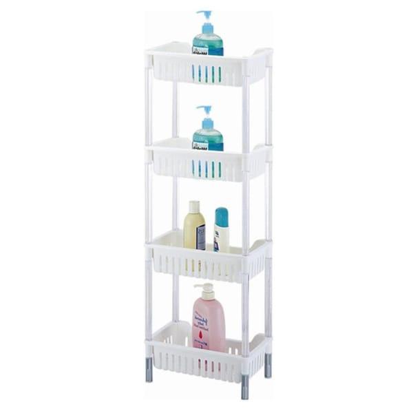 White Plastic 4-tiered Storage Basket Shelves