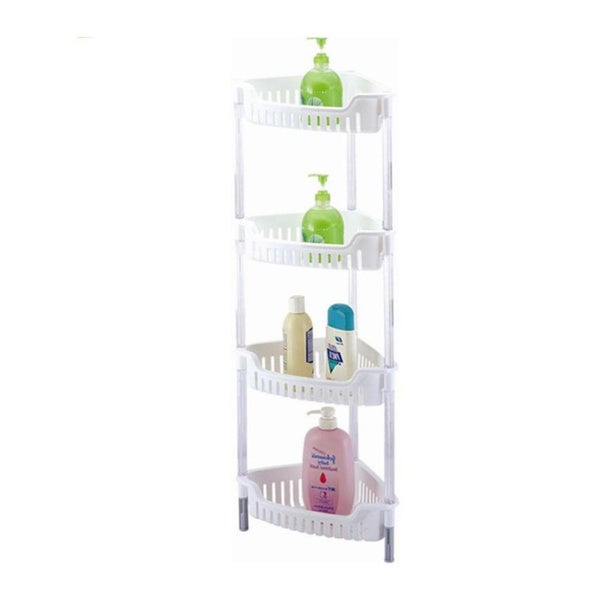 White Corner 4-tier Storage Unit for Shower/ Bath/ Kitchen