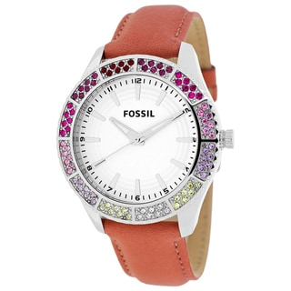 Fossil Women's BQ1220 Classic Round Red Leather Strap Watch