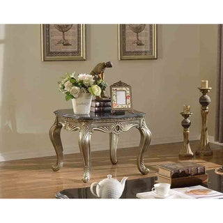 Meridian Antiqued Silvertone Roma End Table with Black Granite Top