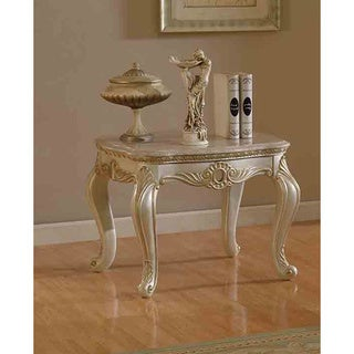 Meridian Pearl White Marquee End Table with Mable Top