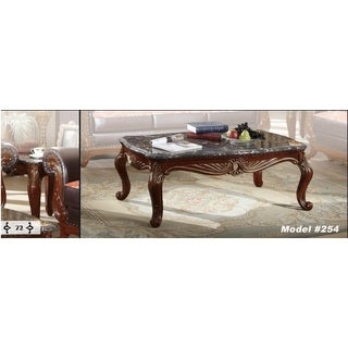 Meridian Cherry Finished Bellini Coffee Table with Marble Top