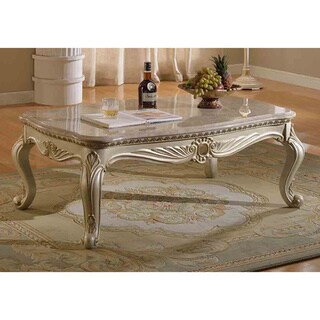 Meridian Pearl White Marquee Coffee Table with Marble Top
