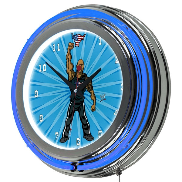 WWE Kids The Rock Neon Clock - 14 inch Diameter