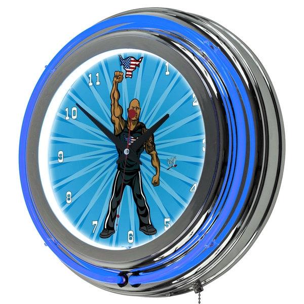 WWE Kids The Rock Neon Clock - 14 inch Diameter