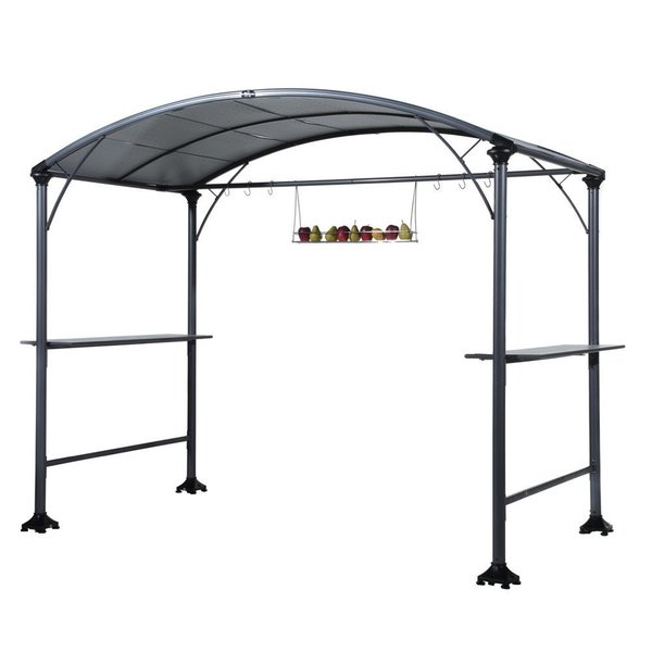 Abba Patio Outdoor Backyard BBQ Grill Gazebo Cover Tent Made of Steel with Canopy, 9x5 feet
