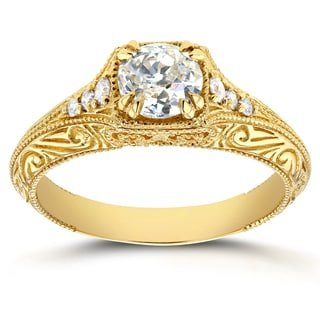 Annello 14k Yellow Gold 7/8ct TDW Old Mine Cut Diamond Antique Filigree Engagement Ring (H-I, I1-I2)