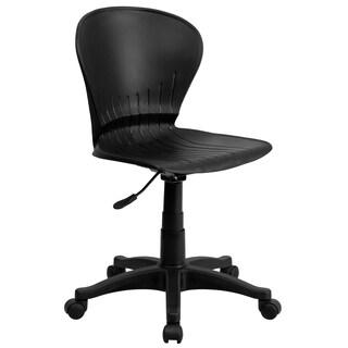 Mid-back Black Plastic Swivel Task Chair