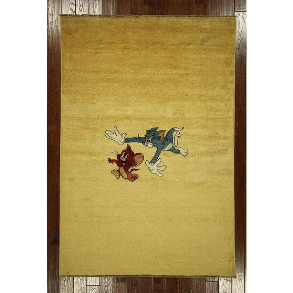 Tom/ Jerry Super Gabbeh Wool Hand-knotted Oriental Area Rug (5' 7 x 8' 2)