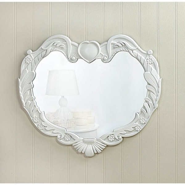 Heart-Shaped White Wall Mirror