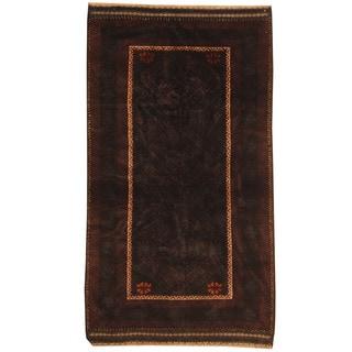 Herat Oriental Afghan Hand-knotted Tribal Balouchi Black/ Rust Wool Rug (3'5 x 6')