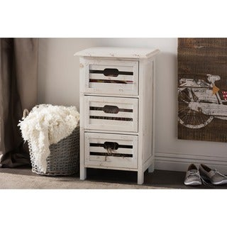 Baxton Studio Rococo Shabby Chic Vintage Pine Wood Antique White Washed Finished 3-drawer Storge Cabinet