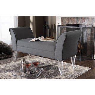Baxton Studio Irwin Contemporary Grey Linen Upholstered Luxe Flared Arms Ottoman Bench with Flared Acrylic Legs