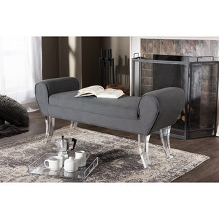 Baxton Studio Emerson Contemporary Grey Linen Upholstered Luxe Ottoman Bench with Flared Acrylic Legs