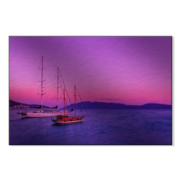 'Pink Sunset At Sea and Two Ships Stand' Printed on Metal Wall Art