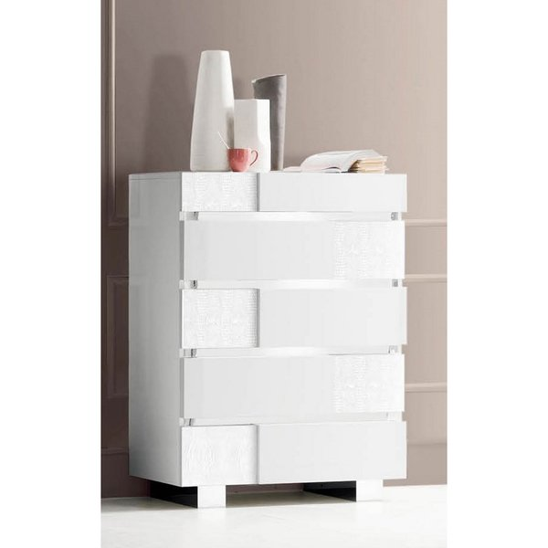 Luca Home White 5-drawer Chest