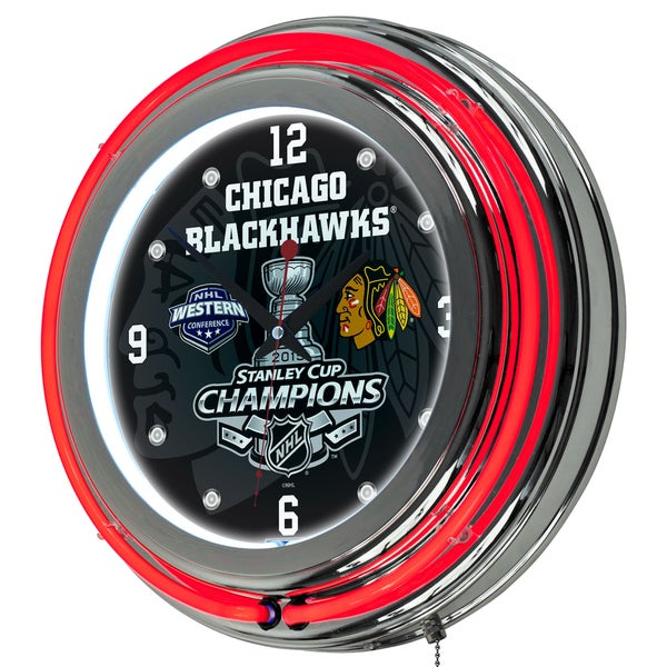Chicago Blackhawks Chrome Double Neon Clock - 2015 Stanley Cup Champs 16418599
