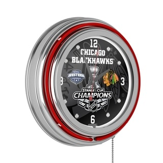 Chicago Blackhawks Chrome Double Neon Clock - 2015 Stanley Cup Champs