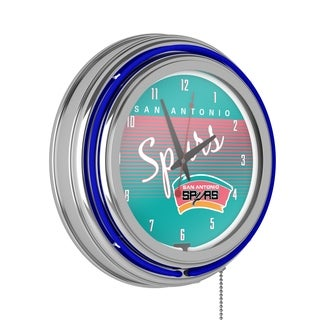 San Antonio Spurs Hardwood Classics NBA Chrome Neon Clock