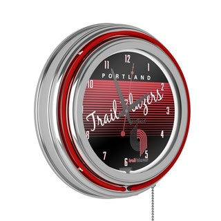 Portland Trail Blazers Hardwood Classic NBA Chrome Neon Clock