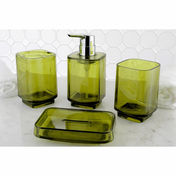 Yellow 4 piece bath accessory set 17717137 overstock for Yellow bathroom accessories sets
