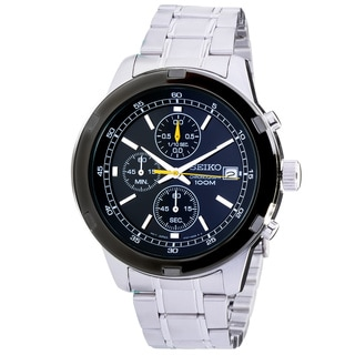 Seiko Chronograph Black Dial Stainless Steel Mens Watch SKS435