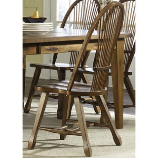 Treasures Rustic Oak Sheaf Back Side Chair