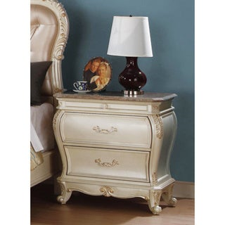 Nightstand With Marble Top In Dark Cherry Finish
