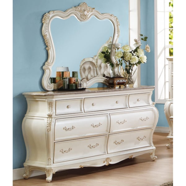 SB Meridian Pearl White Marquee Mirror