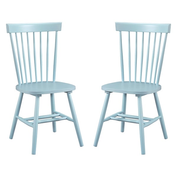 Dunner Danish Design Spindle Back Light Blue Dining Chairs (Set of 2)