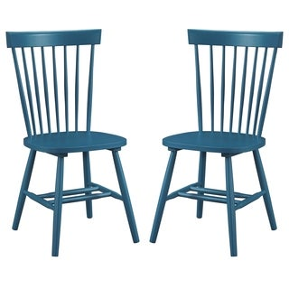 Dunner Danish Design Spindle Back Blue/Teal Dining Chairs (Set of 2)