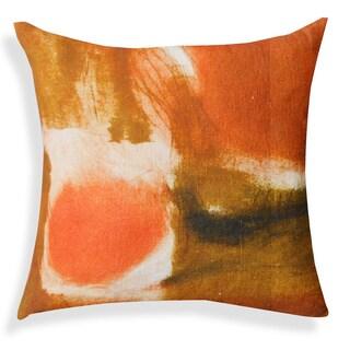 A1 Hand-printed Orange Cotton 20-inch Throw Pillow