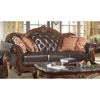 Meridian Brown Bellini Sofa and Cherry Finish with Reversible Cushions