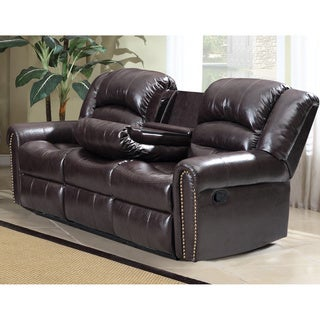 Meridian Brown Chelsea Dual Reclining Sofa with Nailhead Detail