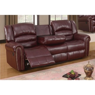 SB Meridian Burgundy Chelsea Dual Reclining Sofa with Nailhead Detail