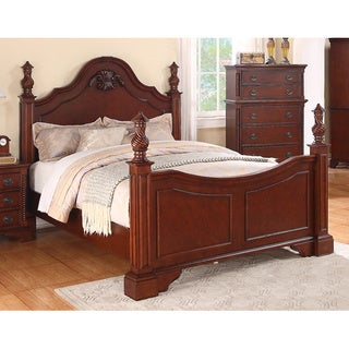 Meridian Solid Wood Manor Traditional Bed with Cherry Finish