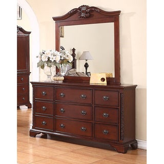 Meridian Solid Wood Manor 9-drawer Dresser in Cherry Finish