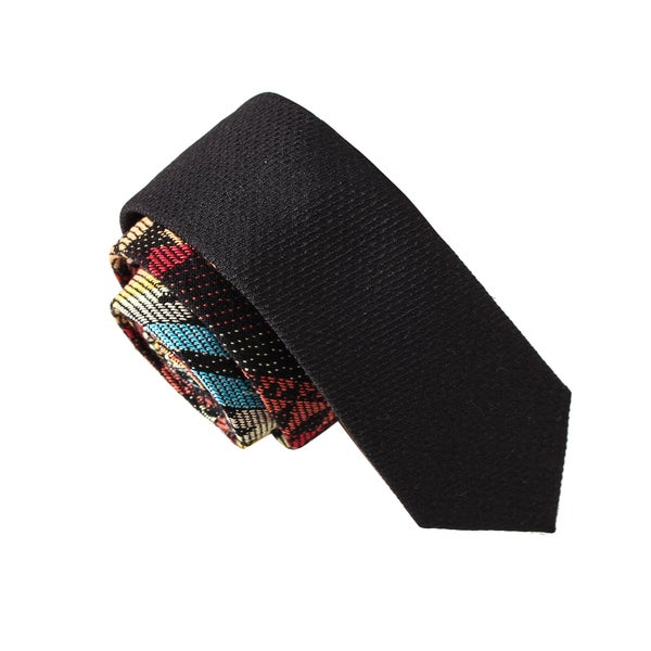 Skinny Tie Madness Men's Talk to the Sword Black Novelty Print Solid Bias Tie