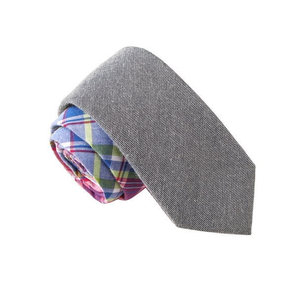 Skinny Tie Madness Men's Drones Are Coming Grey Plaid Solid Bias Tie