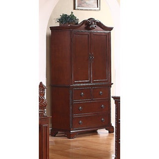 Meridian Solid Wood Manor Armoire in Cherry Finish