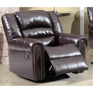 Meridian Brown Chelsea Dual Reclining Rocker Chair with Nailhead Detail