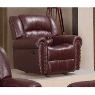 Meridian Burgundy Chelsea Dual Reclining Rocker Chair with Nailhead Detail