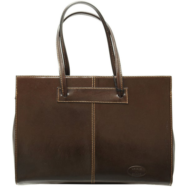 Sharo Deleite Brown Leather 16-inch Laptop Tote Bag